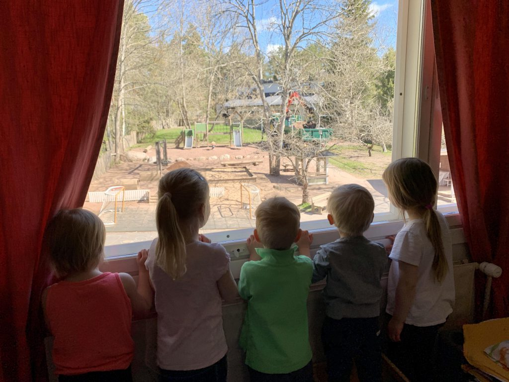 Children looking out the window